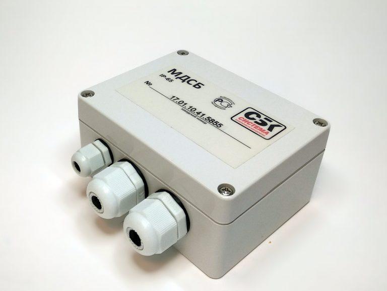 Модуль датчиков системы безопасности (МДСБ-10). Предназначен для получения информации от извещателей и управления внешними слаботочными устройствами (светодиодами, контроллером электромагнитного замка), а также для питания извещателей и датчиков.